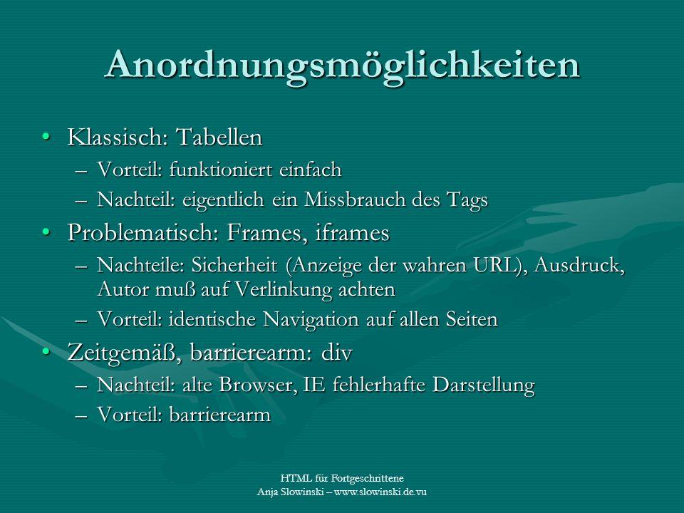 HTML für Fortgeschrittene Anja Slowinski – www.slowinski.de.vu Anordnungsmöglichkeiten Klassisch: TabellenKlassisch: Tabellen –Vorteil: funktioniert e