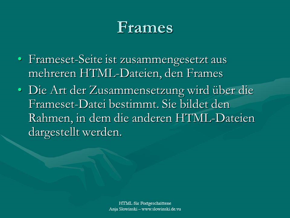 HTML für Fortgeschrittene Anja Slowinski – www.slowinski.de.vu Frames Frameset-Seite ist zusammengesetzt aus mehreren HTML-Dateien, den FramesFrameset