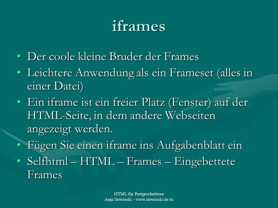 HTML für Fortgeschrittene Anja Slowinski – www.slowinski.de.vu iframes Der coole kleine Bruder der FramesDer coole kleine Bruder der Frames Leichtere