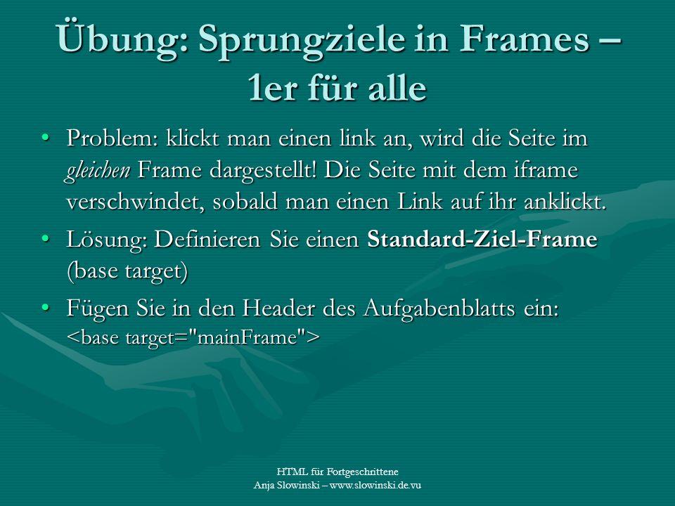HTML für Fortgeschrittene Anja Slowinski – www.slowinski.de.vu Übung: Sprungziele in Frames – 1er für alle Problem: klickt man einen link an, wird die