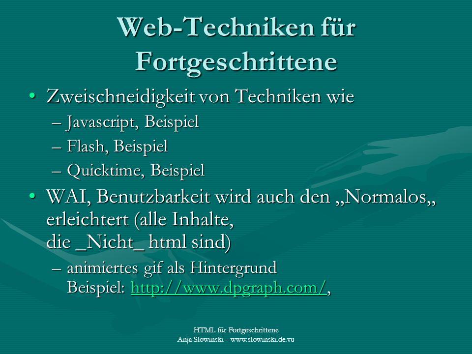 HTML für Fortgeschrittene Anja Slowinski – www.slowinski.de.vu Web-Techniken für Fortgeschrittene Zweischneidigkeit von Techniken wieZweischneidigkeit