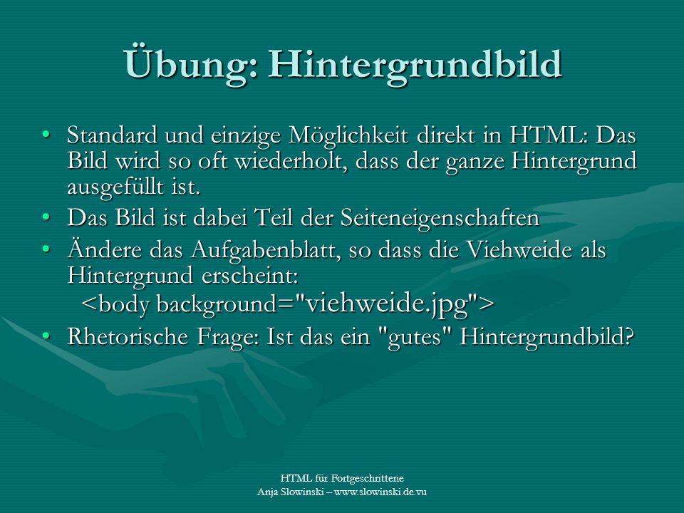 HTML für Fortgeschrittene Anja Slowinski – www.slowinski.de.vu Übung: Hintergrundbild Standard und einzige Möglichkeit direkt in HTML: Das Bild wird s