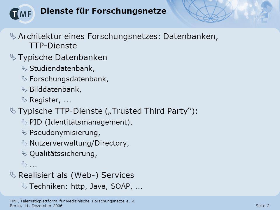 TMF, Telematikplattform für Medizinische Forschungsnetze e. V. Berlin, 11. Dezember 2006 Seite 3 Dienste für Forschungsnetze Architektur eines Forschu