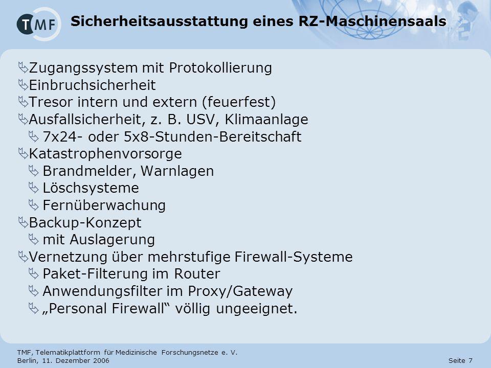TMF, Telematikplattform für Medizinische Forschungsnetze e. V. Berlin, 11. Dezember 2006 Seite 7 Sicherheitsausstattung eines RZ-Maschinensaals Zugang