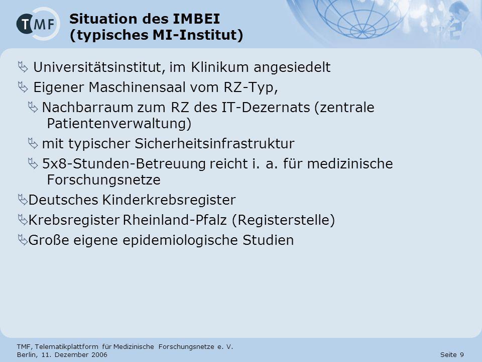 TMF, Telematikplattform für Medizinische Forschungsnetze e. V. Berlin, 11. Dezember 2006 Seite 9 Situation des IMBEI (typisches MI-Institut) Universit