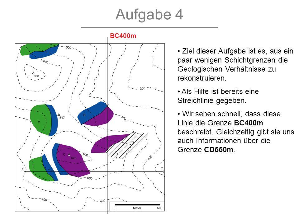 Aufgabe 4 Ziel dieser Aufgabe ist es, aus ein paar wenigen Schichtgrenzen die Geologischen Verhältnisse zu rekonstruieren. Als Hilfe ist bereits eine