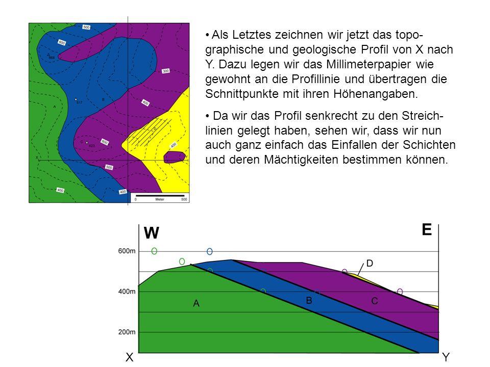 XY W E Als Letztes zeichnen wir jetzt das topo- graphische und geologische Profil von X nach Y. Dazu legen wir das Millimeterpapier wie gewohnt an die