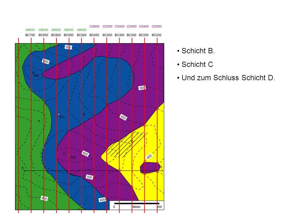 XY W E Als Letztes zeichnen wir jetzt das topo- graphische und geologische Profil von X nach Y.