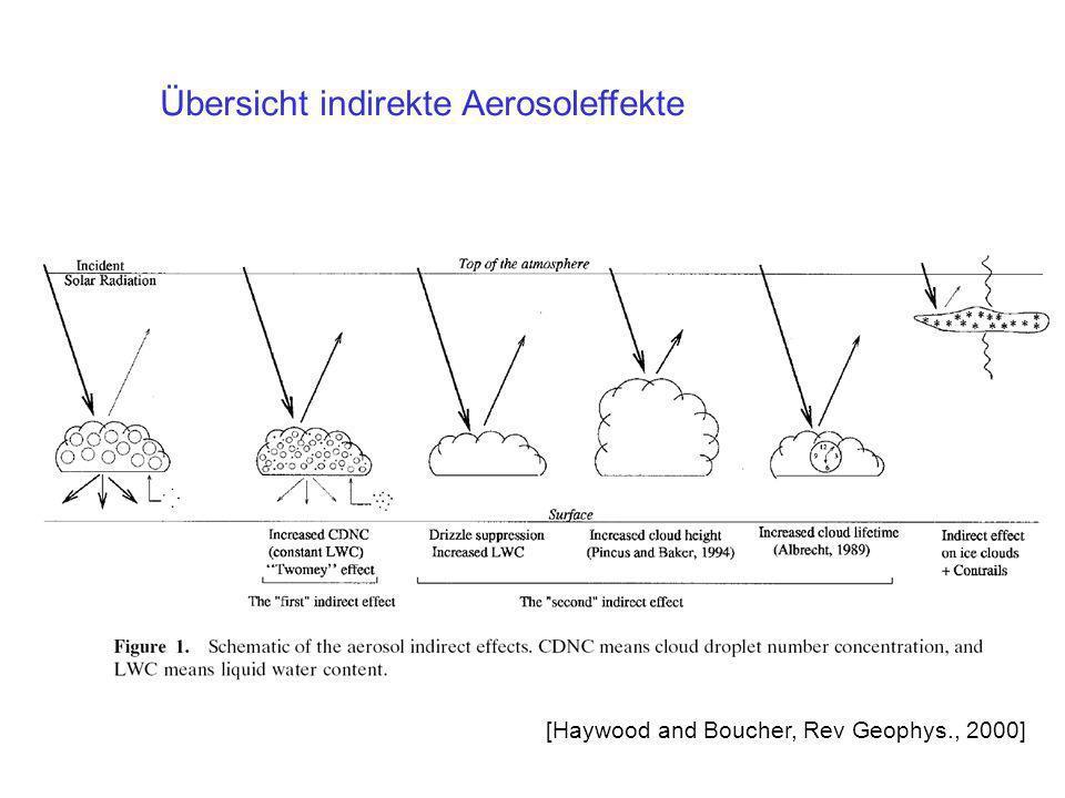 Übersicht indirekte Aerosoleffekte [Haywood and Boucher, Rev Geophys., 2000]