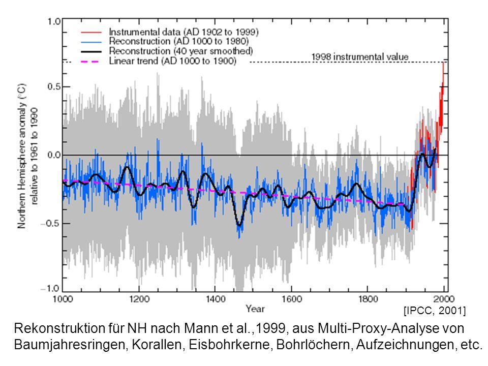 [IPCC, 2001] Rekonstruktion für NH nach Mann et al.,1999, aus Multi-Proxy-Analyse von Baumjahresringen, Korallen, Eisbohrkerne, Bohrlöchern, Aufzeichn