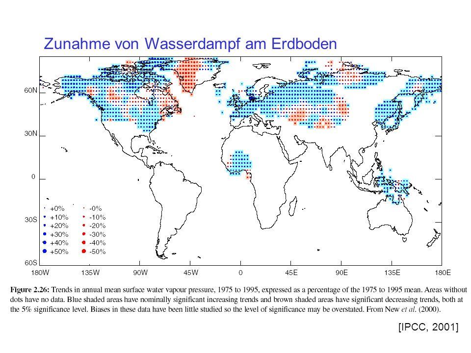 Zunahme von Wasserdampf am Erdboden [IPCC, 2001]