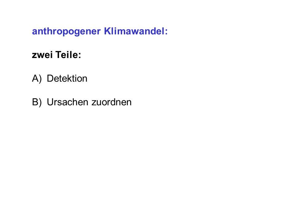 anthropogener Klimawandel: zwei Teile: A)Detektion B)Ursachen zuordnen