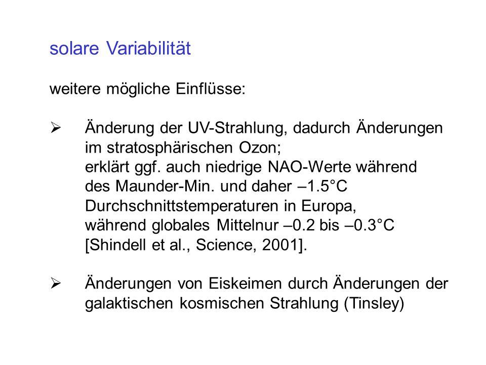 solare Variabilität weitere mögliche Einflüsse: Änderung der UV-Strahlung, dadurch Änderungen im stratosphärischen Ozon; erklärt ggf. auch niedrige NA