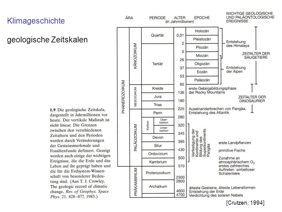 Klimageschichte geologische Zeitskalen [Crutzen, 1994]