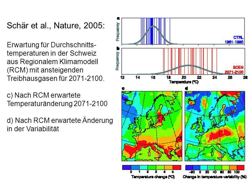 Schär et al., Nature, 2005: Erwartung für Durchschnitts- temperaturen in der Schweiz aus Regionalem Klimamodell (RCM) mit ansteigenden Treibhausgasen für 2071-2100.