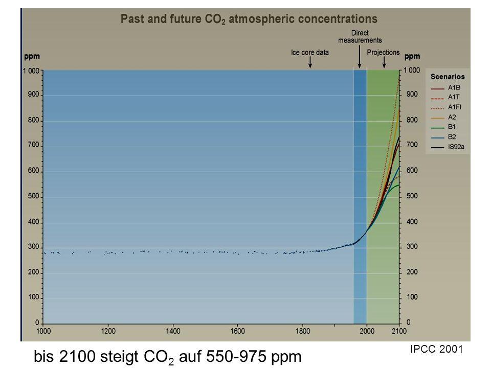 bis 2100 steigt CO 2 auf 550-975 ppm IPCC 2001