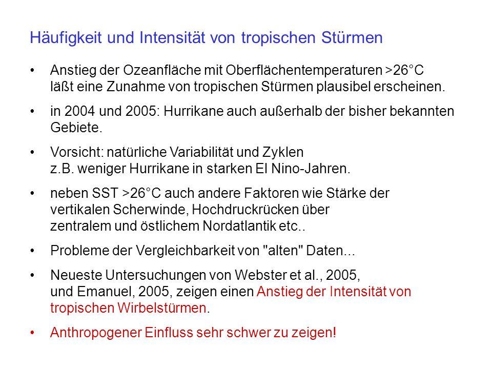 Zunahme der Häufigkeit und Intensität von Hitzewellen wie im Sommer 2003 in Europa ist sehr wahrscheinlich.