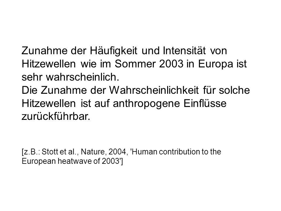 Zunahme der Häufigkeit und Intensität von Hitzewellen wie im Sommer 2003 in Europa ist sehr wahrscheinlich. Die Zunahme der Wahrscheinlichkeit für sol