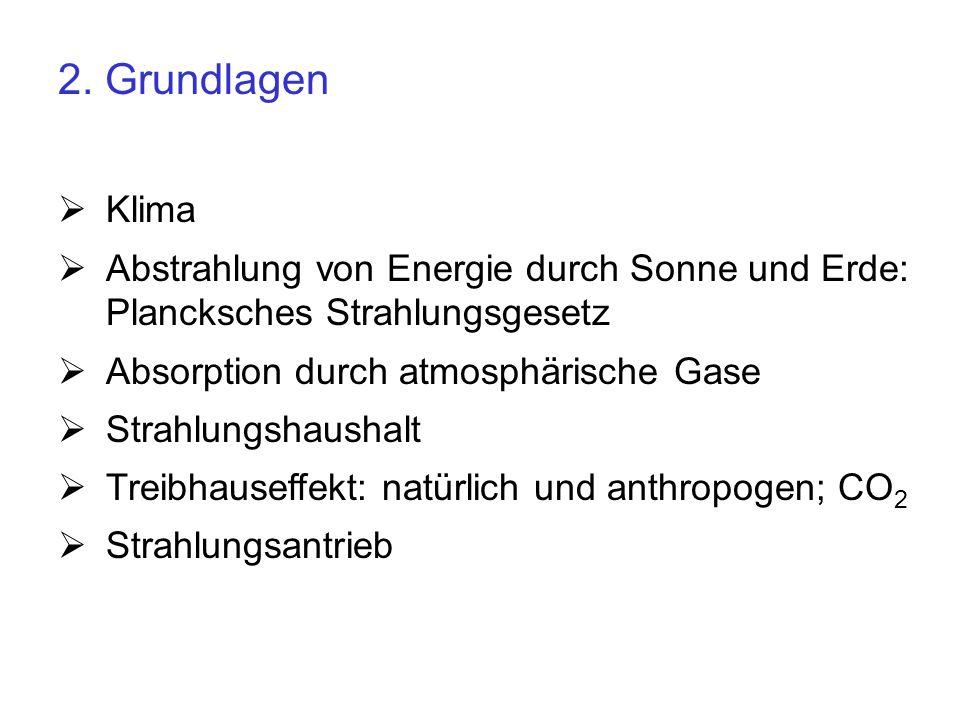 2. Grundlagen Klima Abstrahlung von Energie durch Sonne und Erde: Plancksches Strahlungsgesetz Absorption durch atmosphärische Gase Strahlungshaushalt