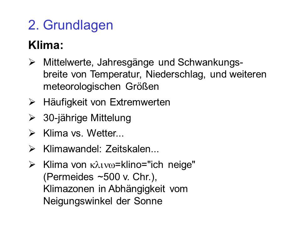 2. Grundlagen Klima: Mittelwerte, Jahresgänge und Schwankungs- breite von Temperatur, Niederschlag, und weiteren meteorologischen Größen Häufigkeit vo