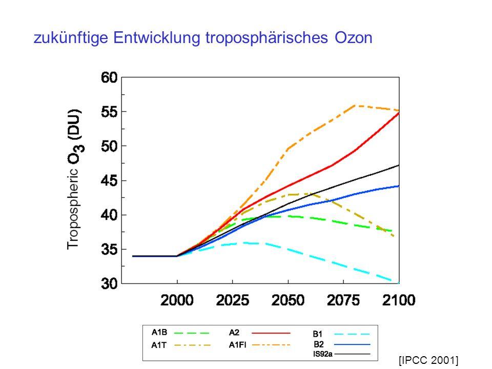 zukünftige Entwicklung troposphärisches Ozon [IPCC 2001]