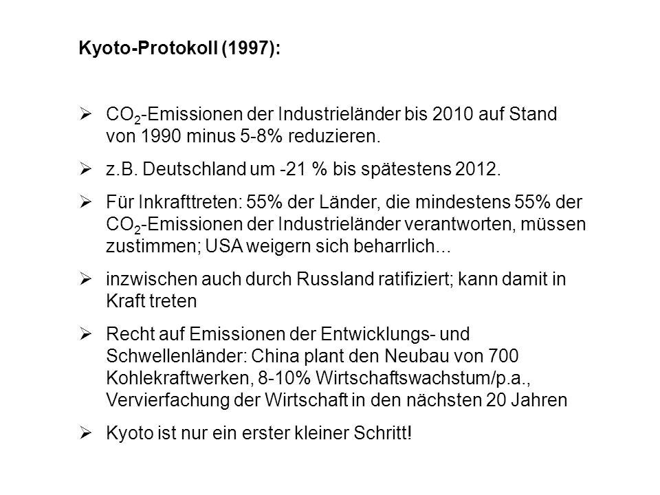 Kyoto-Protokoll (1997): CO 2 -Emissionen der Industrieländer bis 2010 auf Stand von 1990 minus 5-8% reduzieren. z.B. Deutschland um -21 % bis späteste