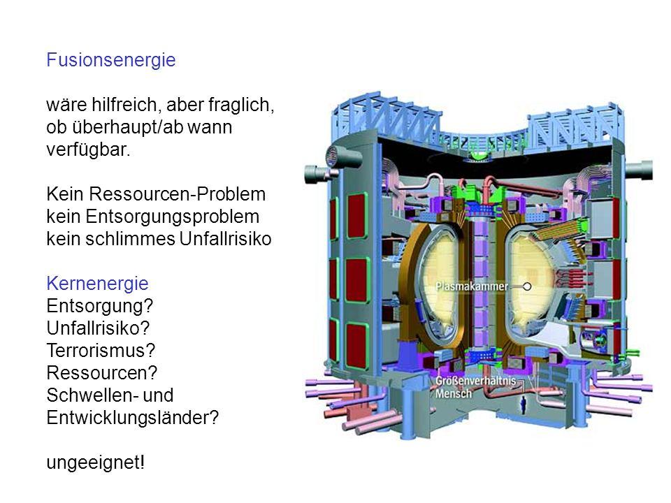 Fusionsenergie wäre hilfreich, aber fraglich, ob überhaupt/ab wann verfügbar. Kein Ressourcen-Problem kein Entsorgungsproblem kein schlimmes Unfallris