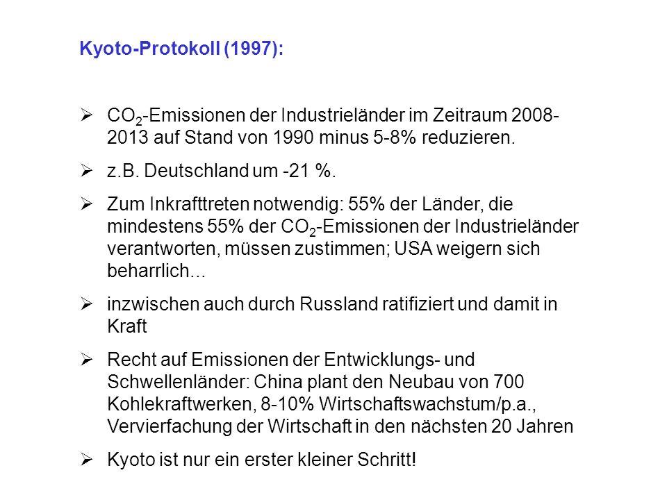 Kyoto-Protokoll (1997): CO 2 -Emissionen der Industrieländer im Zeitraum 2008- 2013 auf Stand von 1990 minus 5-8% reduzieren. z.B. Deutschland um -21