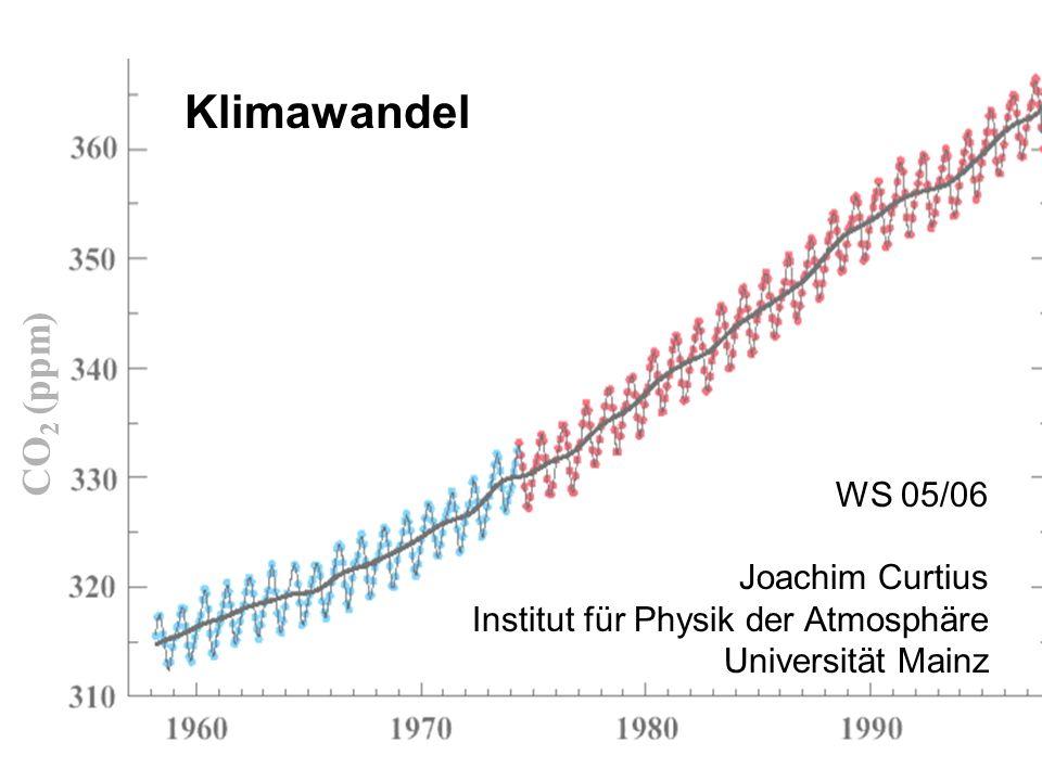 Klimawandel WS 05/06 Joachim Curtius Institut für Physik der Atmosphäre Universität Mainz CO 2 (ppm)