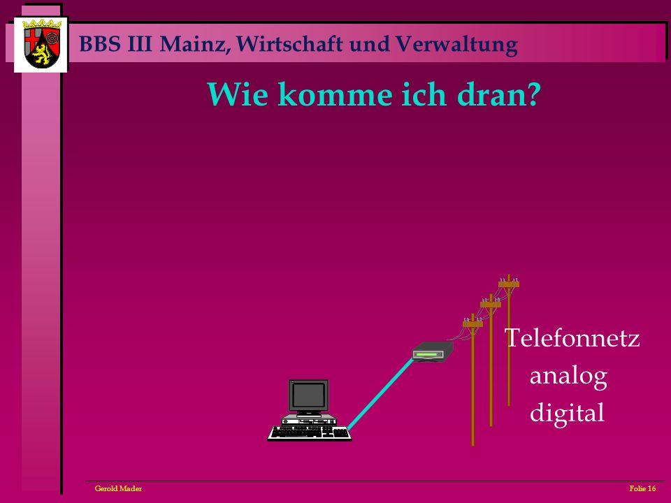 BBS III Mainz, Wirtschaft und Verwaltung Gerold MaderFolie 16 Wie komme ich dran? Telefonnetz analog digital