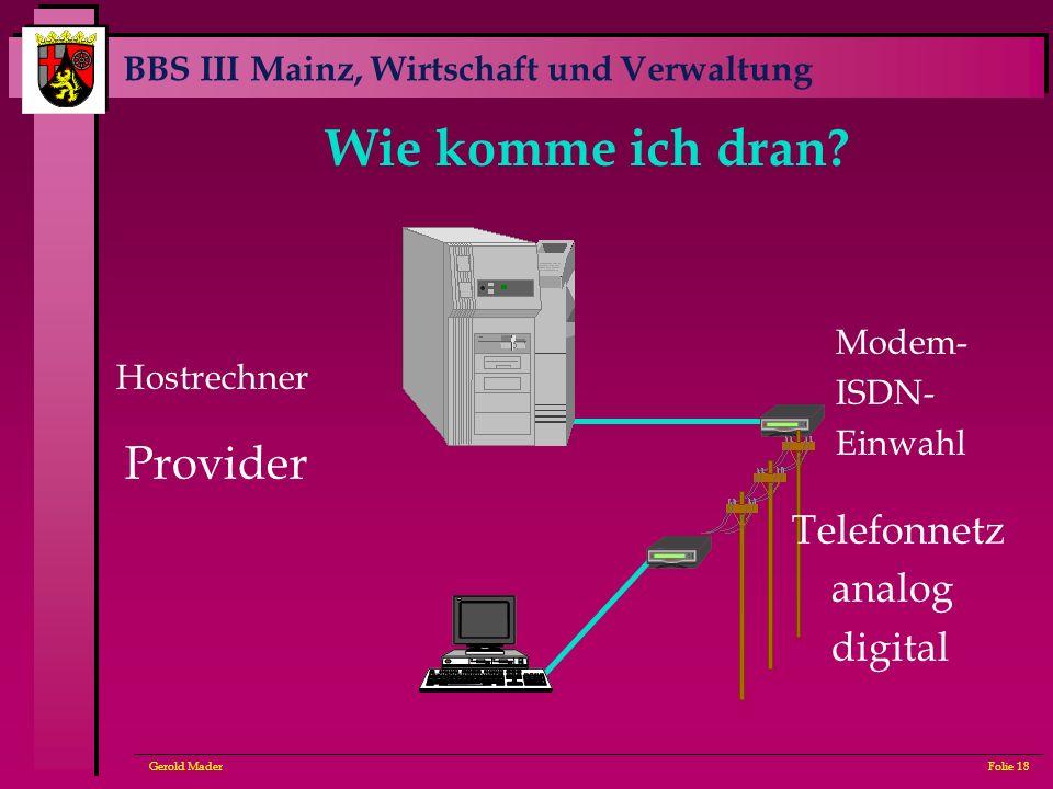 BBS III Mainz, Wirtschaft und Verwaltung Gerold MaderFolie 18 Wie komme ich dran? Provider Modem- ISDN- Einwahl Telefonnetz analog digital Hostrechner