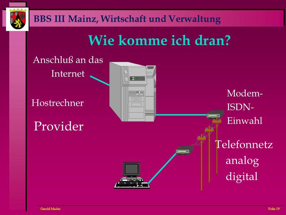 BBS III Mainz, Wirtschaft und Verwaltung Gerold MaderFolie 19 Wie komme ich dran? Provider Modem- ISDN- Einwahl Telefonnetz analog digital Hostrechner