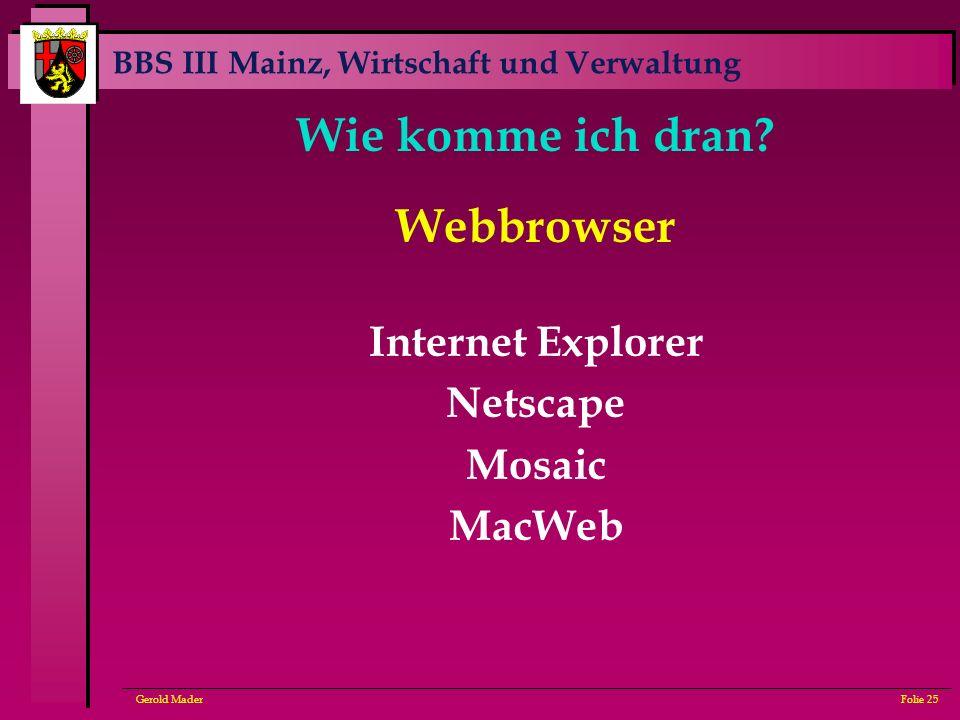 BBS III Mainz, Wirtschaft und Verwaltung Gerold MaderFolie 25 Wie komme ich dran? Webbrowser Internet Explorer Netscape Mosaic MacWeb