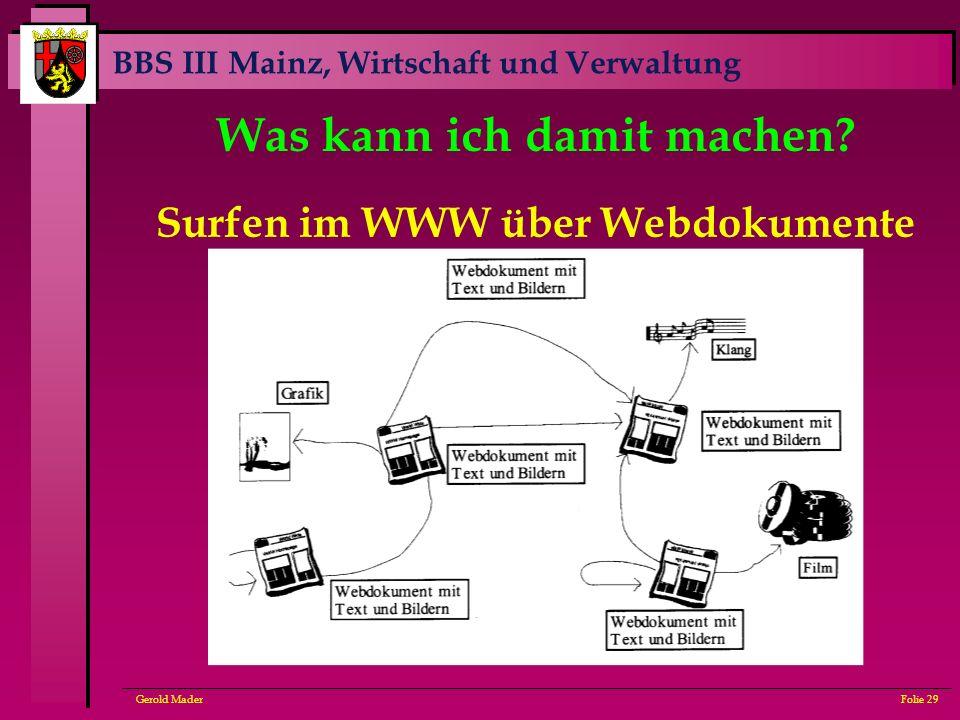 BBS III Mainz, Wirtschaft und Verwaltung Gerold MaderFolie 29 Was kann ich damit machen? Surfen im WWW über Webdokumente