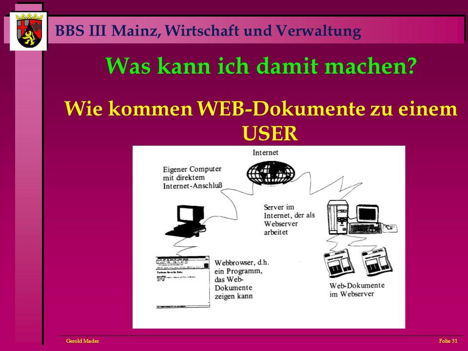 BBS III Mainz, Wirtschaft und Verwaltung Gerold MaderFolie 31 Was kann ich damit machen? Wie kommen WEB-Dokumente zu einem USER