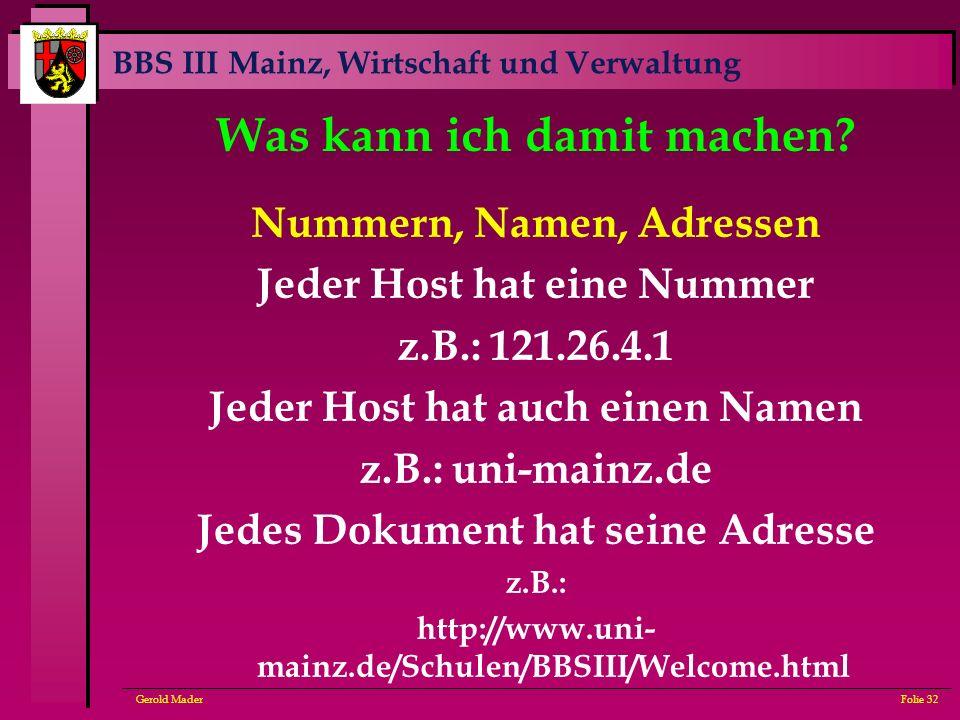 BBS III Mainz, Wirtschaft und Verwaltung Gerold MaderFolie 32 Was kann ich damit machen? Nummern, Namen, Adressen Jeder Host hat eine Nummer z.B.: 121