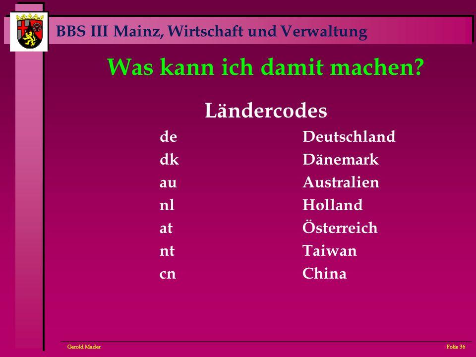 BBS III Mainz, Wirtschaft und Verwaltung Gerold MaderFolie 36 Was kann ich damit machen? Ländercodes deDeutschland dkDänemark auAustralien nlHolland a