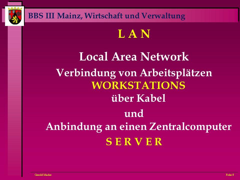 BBS III Mainz, Wirtschaft und Verwaltung Gerold MaderFolie 8 L A N Local Area Network Verbindung von Arbeitsplätzen WORKSTATIONS über Kabel und Anbind
