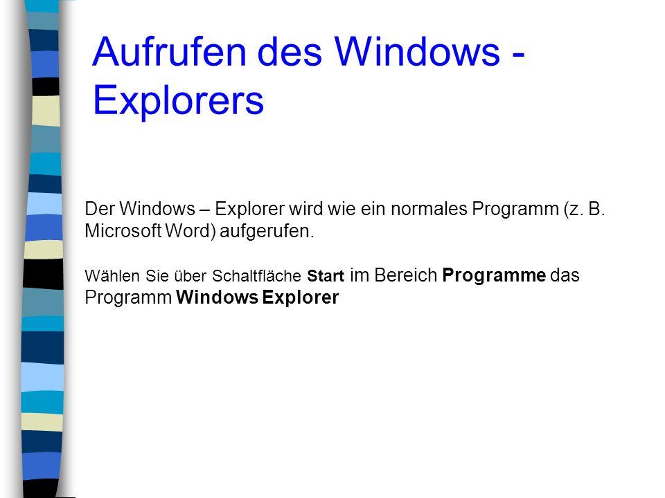Der Windows – Explorer wird wie ein normales Programm (z. B. Microsoft Word) aufgerufen. Wählen Sie über Schaltfläche Start im Bereich Programme das P