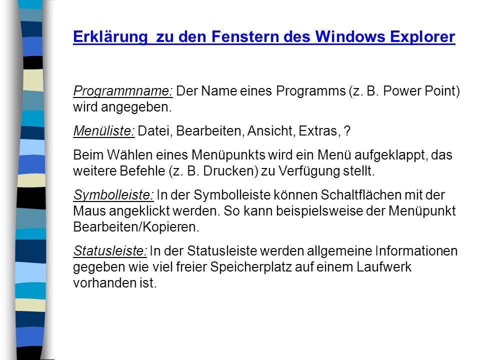 Erklärung zu den Fenstern des Windows Explorer Programmname: Der Name eines Programms (z. B. Power Point) wird angegeben. Menüliste: Datei, Bearbeiten