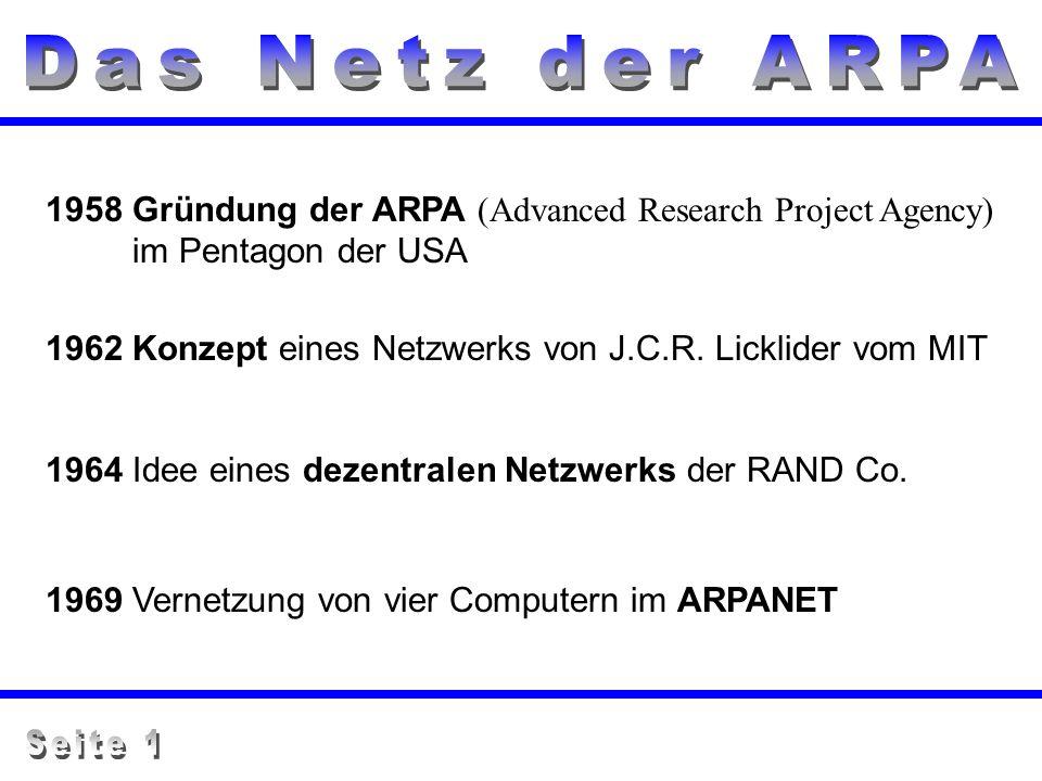 1958 Gründung der ARPA (Advanced Research Project Agency) im Pentagon der USA 1962 Konzept eines Netzwerks von J.C.R. Licklider vom MIT 1964 Idee eine