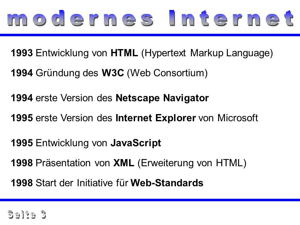 1993 Entwicklung von HTML (Hypertext Markup Language) 1994 Gründung des W3C (Web Consortium) 1995 Entwicklung von JavaScript 1998 Präsentation von XML