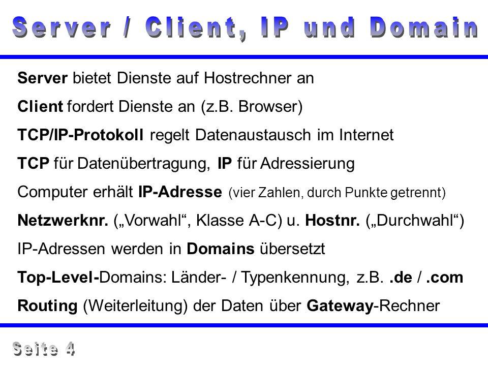 TCP/IP-Protokoll regelt Datenaustausch im Internet TCP für Datenübertragung, IP für Adressierung Server bietet Dienste auf Hostrechner an Client forde