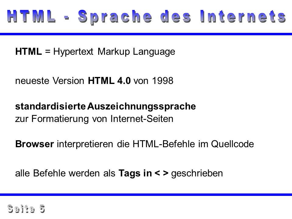 HTML = Hypertext Markup Language standardisierte Auszeichnungssprache zur Formatierung von Internet-Seiten neueste Version HTML 4.0 von 1998 Browser i