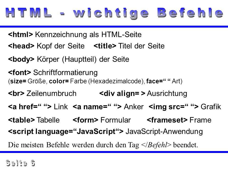 Kennzeichnung als HTML-Seite Kopf der Seite Titel der Seite Körper (Hauptteil) der Seite Schriftformatierung (size= Größe, color= Farbe (Hexadezimalco