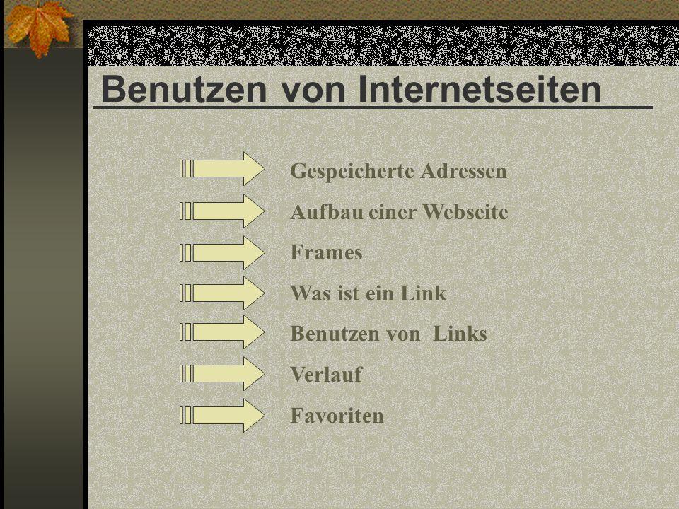 Benutzen von Internetseiten Gespeicherte Adressen Aufbau einer Webseite Frames Was ist ein Link Benutzen von Links Verlauf Favoriten