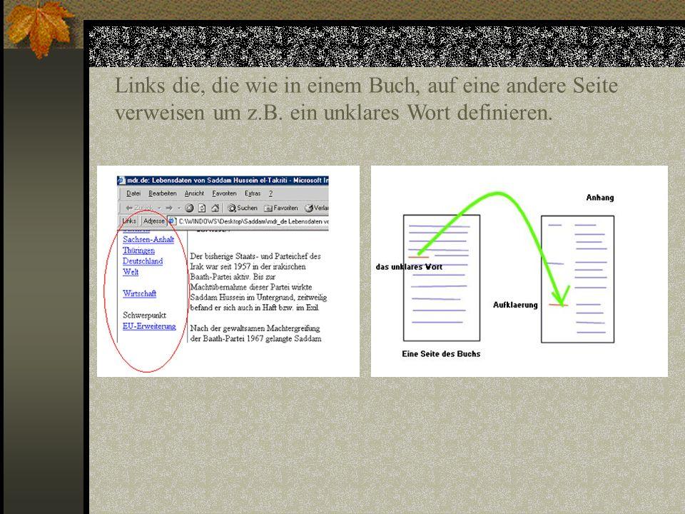 Links die, die wie in einem Buch, auf eine andere Seite verweisen um z.B.