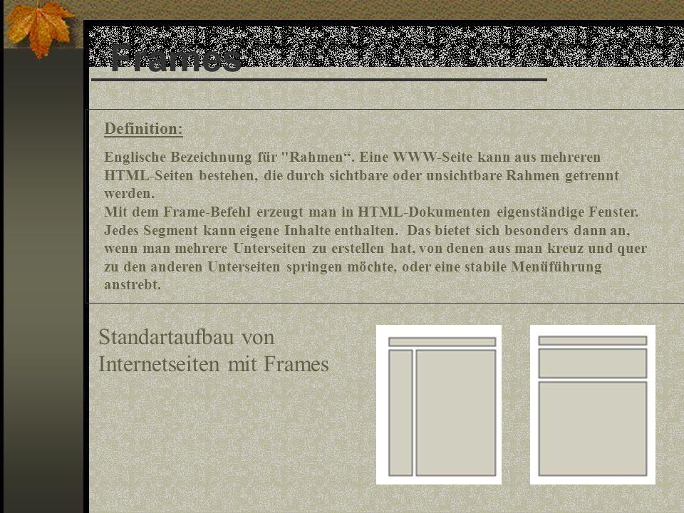 Frames Definition: Englische Bezeichnung für Rahmen.