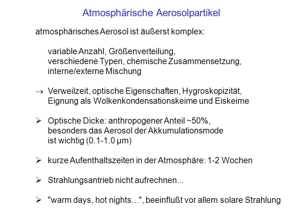 atmosphärisches Aerosol ist äußerst komplex: variable Anzahl, Größenverteilung, verschiedene Typen, chemische Zusammensetzung, interne/externe Mischun