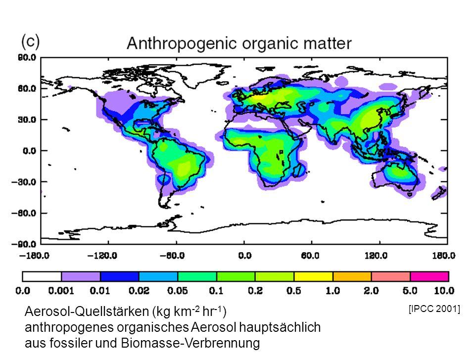 [IPCC 2001] Aerosol-Quellstärken (kg km -2 hr -1 ) anthropogenes organisches Aerosol hauptsächlich aus fossiler und Biomasse-Verbrennung